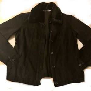 Black Denim Jacket With Detachable Fur Collar